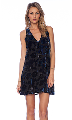 BB Dakota Landon Velvet Dress in Overcast Blue