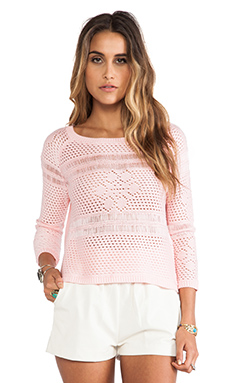 Jack by BB Dakota Calida Novelty Stitch Sweater in Crystal Rose