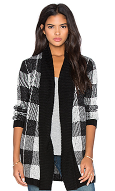 BB Dakota Mardi Buffalo Plaid Cardigan in Black