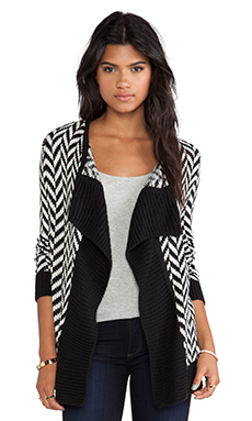 Jack by BB Dakota Turi Patterned Cardigan in Black & Ivory