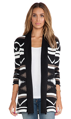 BB Dakota Denny Blanket Pattern Cardigan in Black