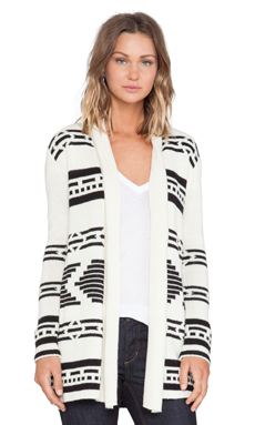 BB Dakota Zabrina Patterned Cardigan in Dirty White