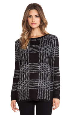 Dakota Collective by BB Dakota Embeth Plaid Sweater in Black & Grey