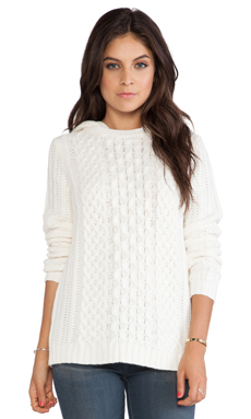 Dakota Collective by BB Dakota Stacey Hooded Cable Sweater in Ivory