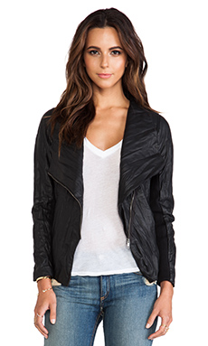 BB Dakota Ellif Faux Leather Jacket w/ Knit Sleeves in Black