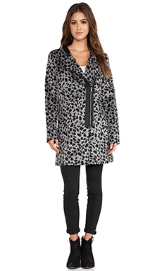 Jack by BB Dakota Elden Leopard Faux Fur Jacket in Black