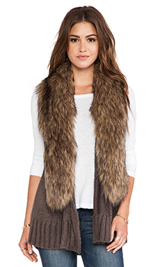 BB Dakota Lida Sweater Vest with Faux Fur Trim in Tobacco