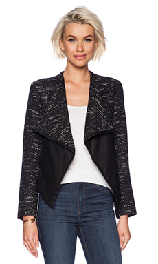 BB Dakota Renata Drape Front Jacket in Black & White