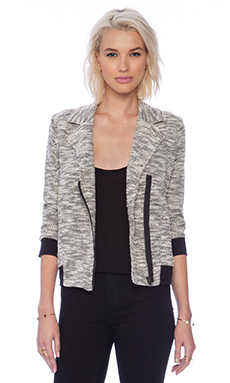 Jack by BB Dakota Chaney Knit Moto Jacket in Black & Oatmeal