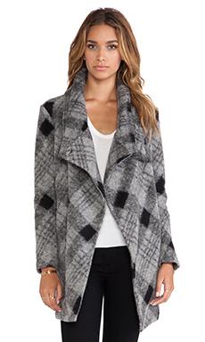 BB Dakota Colton Plaid Coat in Black & White