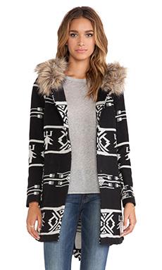 BB Dakota Dean Coat with Faux Fur Trim in Black