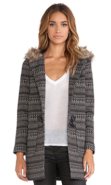 Jack by BB Dakota Leary Patterned Coat with Faux Fur Trim in Black