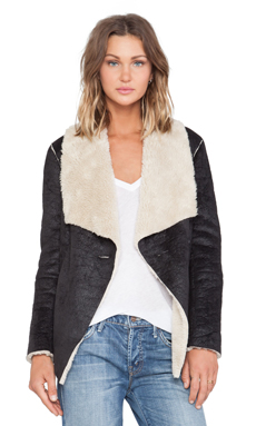 BB Dakota Foster Faux Suede Jacket in Black
