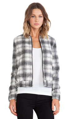 Jack by BB Dakota Irvine Plaid Bomber in Black/White