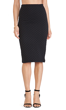 Jack by BB Dakota Blake Quilted Pencil Skirt in Black