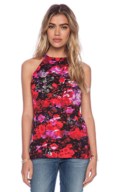 BB Dakota Anitra Rose Print Top in Black