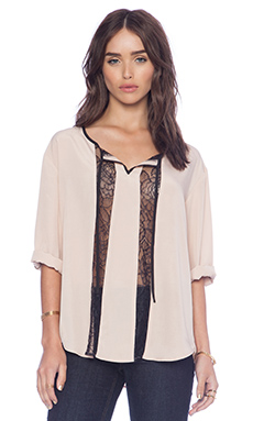 Jack by BB Dakota Rach Lace Insert Top in Pink Shell