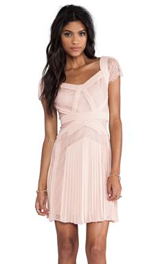 BCBGMAXAZRIA Aris Short Sleeve Dress in Barely Pink