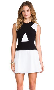 BCBGMAXAZRIA Aloissa Dress in White Combo
