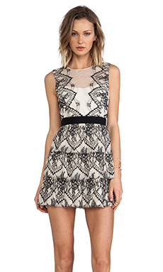 BCBGMAXAZRIA Collier Dress in Ivory Black Combo