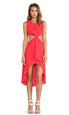 BCBGMAXAZRIA Victoria Cut Out Dress in Lipstick Red