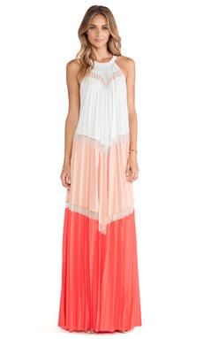 BCBGMAXAZRIA Color Blocked Maxi Dress in Moonlight Combo