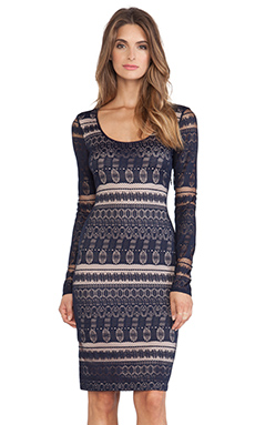 BCBGMAXAZRIA Tayna Lace Round Neck Dress in Dark Midnight