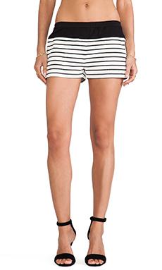 BCBGMAXAZRIA Teagan Striped Shorts in Off White & Black Combo