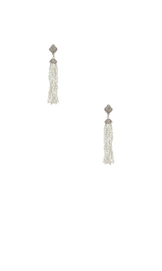BCBGMAXAZRIA Beaded Earrings in White