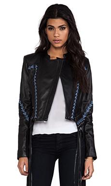 BCBGMAXAZRIA Grant Fringe Leather Jacket in Black