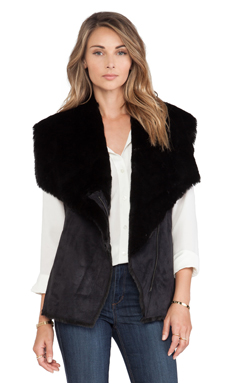 BCBGMAXAZRIA Stefano Faux Fur Vest in Black