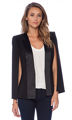 BCBGMAXAZRIA Satin Detail Cape in Black