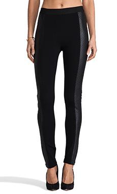 BCBGMAXAZRIA Vegan Leather Side Panel Leggings in Black