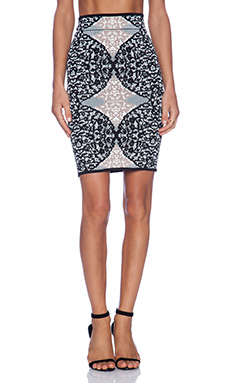 BCBGMAXAZRIA Lace Pencil Skirt in Gardenia
