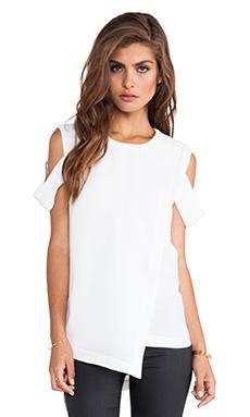 BCBGMAXAZRIA Bethy Open Shoulder Top in White