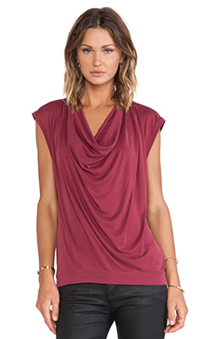 BCBGMAXAZRIA Kadie Cowl Neck Top in Vintage Deep Cranberry