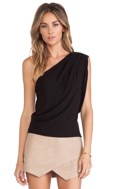 BCBGMAXAZRIA Carli One Shoulder Top in Black