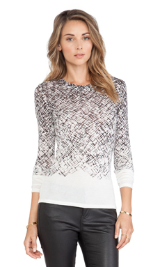 BCBGMAXAZRIA Agda Long Sleeve Top in Off White Combo