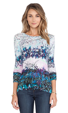 BCBGMAXAZRIA Agda Long Sleeve Top in Light Aqua Mist Combo
