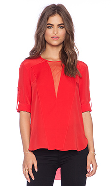 BCBGMAXAZRIA Marrisa Woven Top in Jewel Red