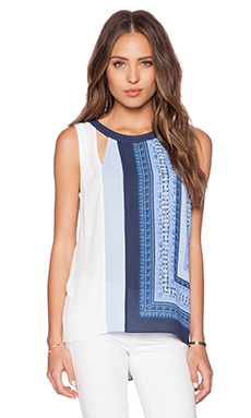 BCBGMAXAZRIA Elica Tank in Light Chambray Combo