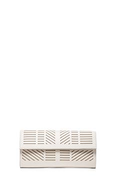 BCBGMAXAZRIA Geometric Pef Clutch in White