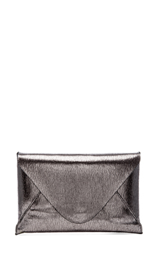 BCBGMAXAZRIA Harlow Signature Envelope Clutch in Silver