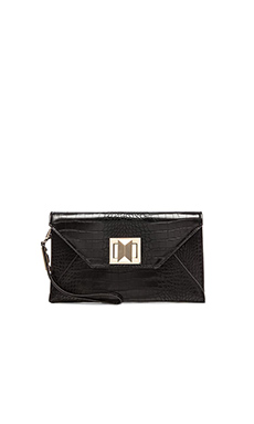 BCBGMAXAZRIA Mattie Faux Crocodile Clutch in Black