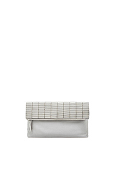BCBGMAXAZRIA Bugle Bead Foldover Clutch in Antique Silver
