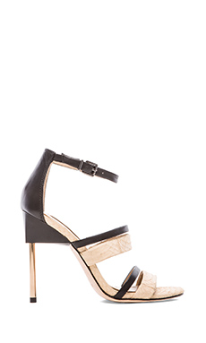 BCBGMAXAZRIA Deanna Heeled Sandals in Parfait & Black