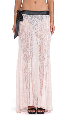 Love Haus by Beach Bunny Bedroom Eyes Maxi Skirt in Blush