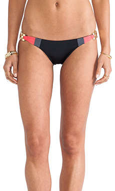 Beach Bunny Short Lines Skimpy Bottom in Black & Coral