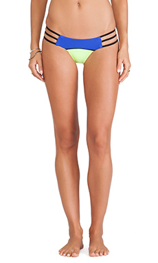 Beach Bunny Form & Function Skimpy Bikini Bottom in Blue & Yellow
