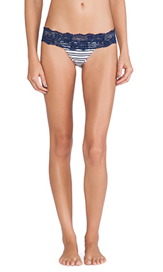 Beach Bunny First Mate Bikini Bottom in Navy/White Stripe